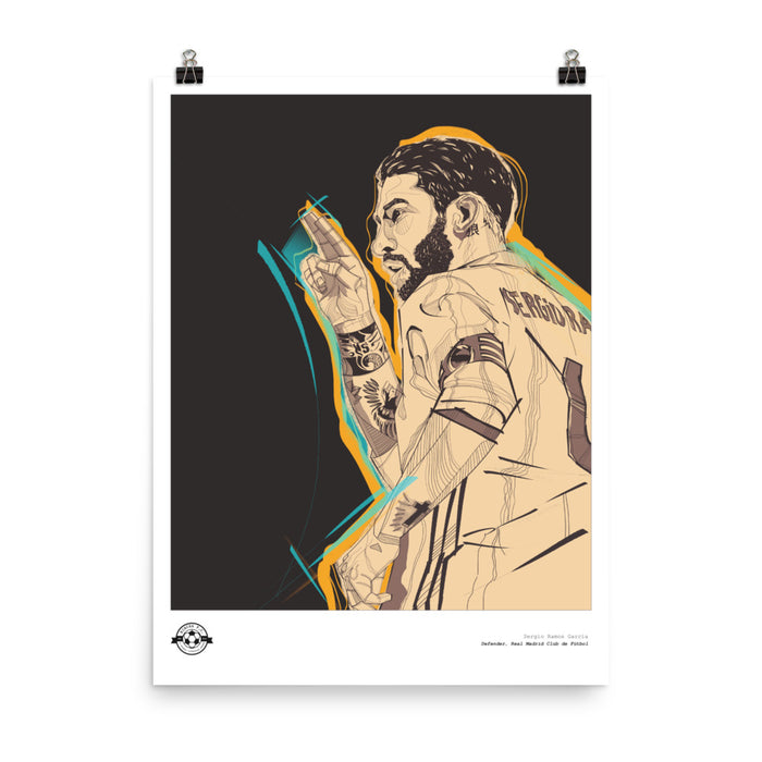 "18""X24"" SERGIO RAMOS ILLUSTRATION POSTER"