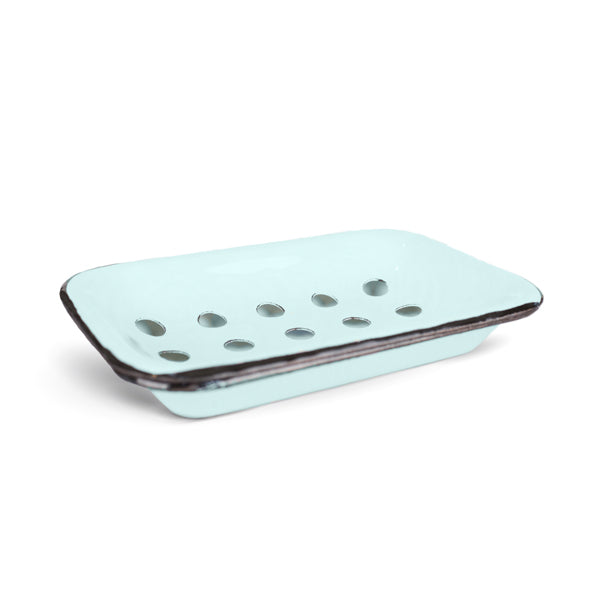Farmhouse Blue/Aqua Enameled Metal Soap Dish (set of 5 dishes)