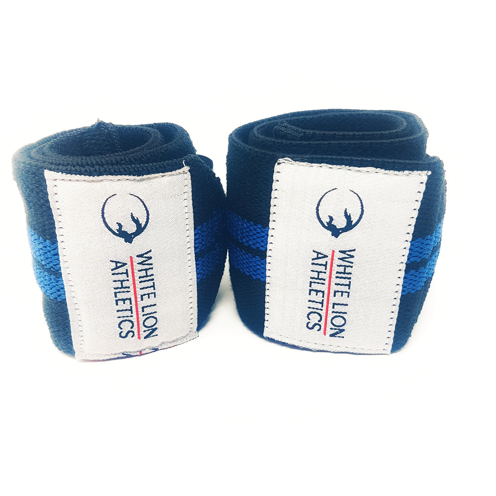 Wrist Wraps| Black with Blue Stripes| Wrist Support for Weightlifting & Crossfit - White Lion Athletics
