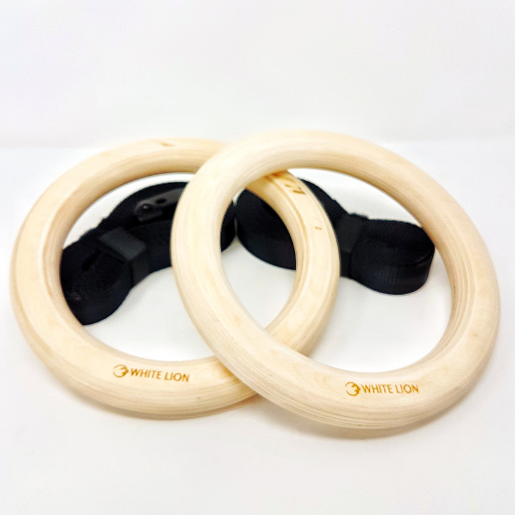 Wood Gymnastics Rings & Straps - White Lion Athletics