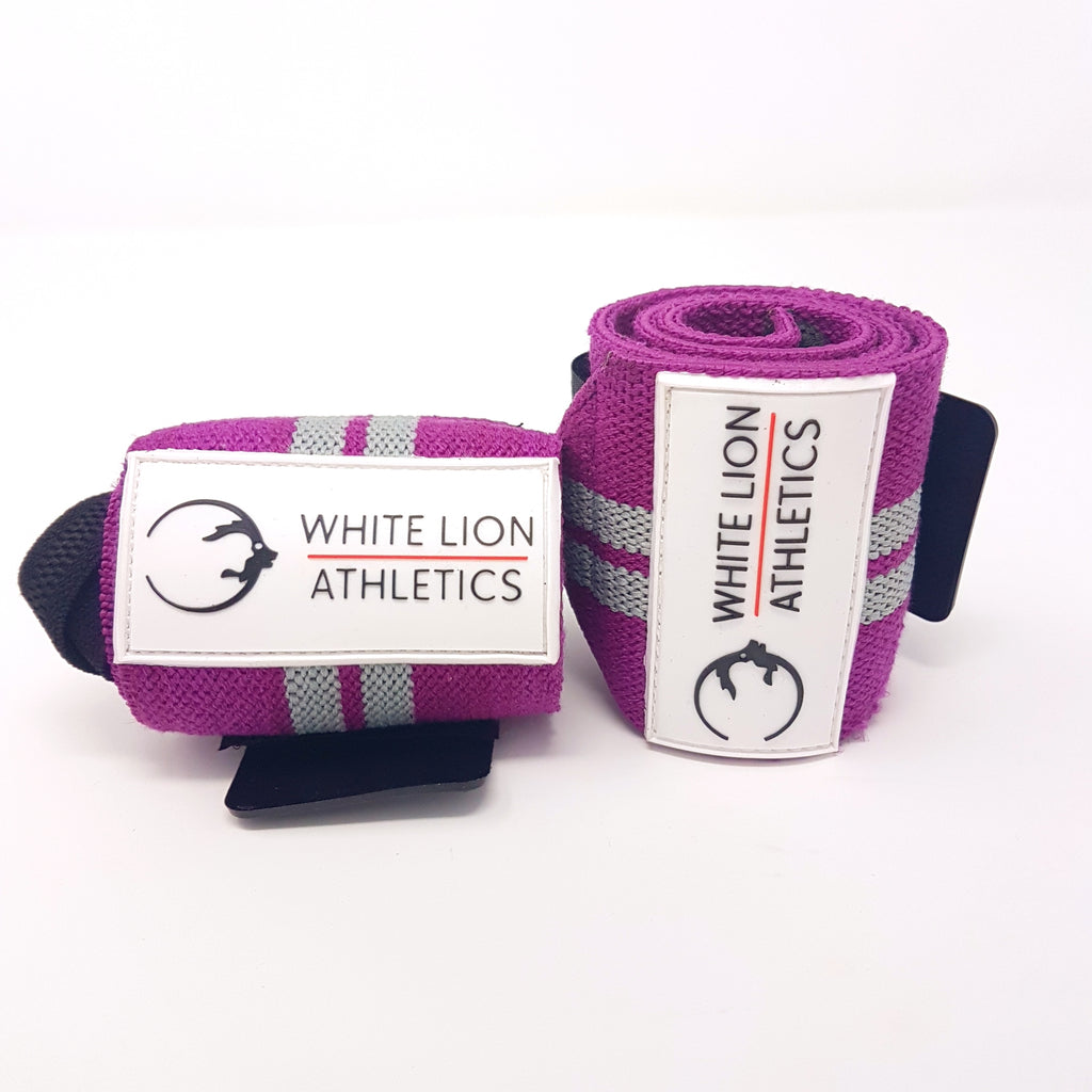 Wrist Wraps| Purple with Grey Stripes| Wrist Support for Weightlifting & Crossfit - White Lion Athletics