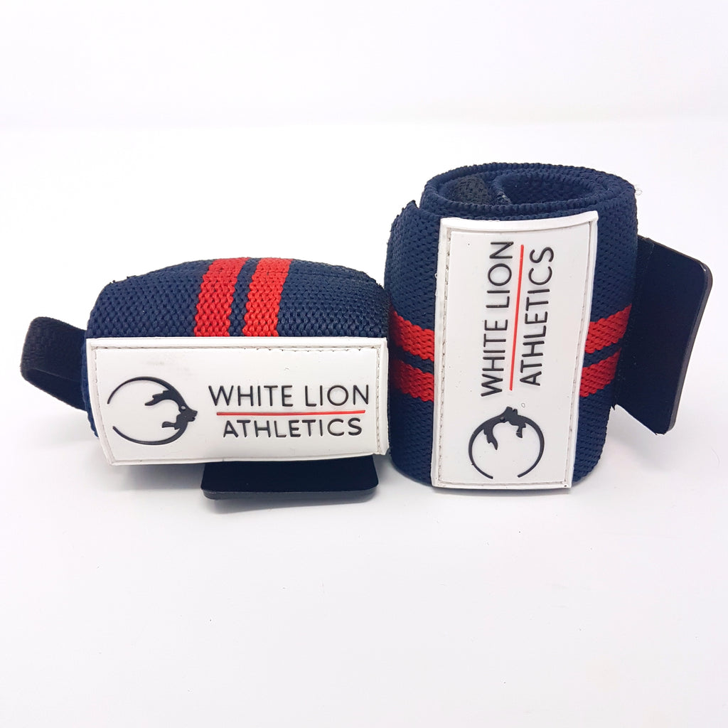 Wrist Wraps| Navy Blue with Red Stripes| Wrist Support for Weightlifting & Crossfit - White Lion Athletics