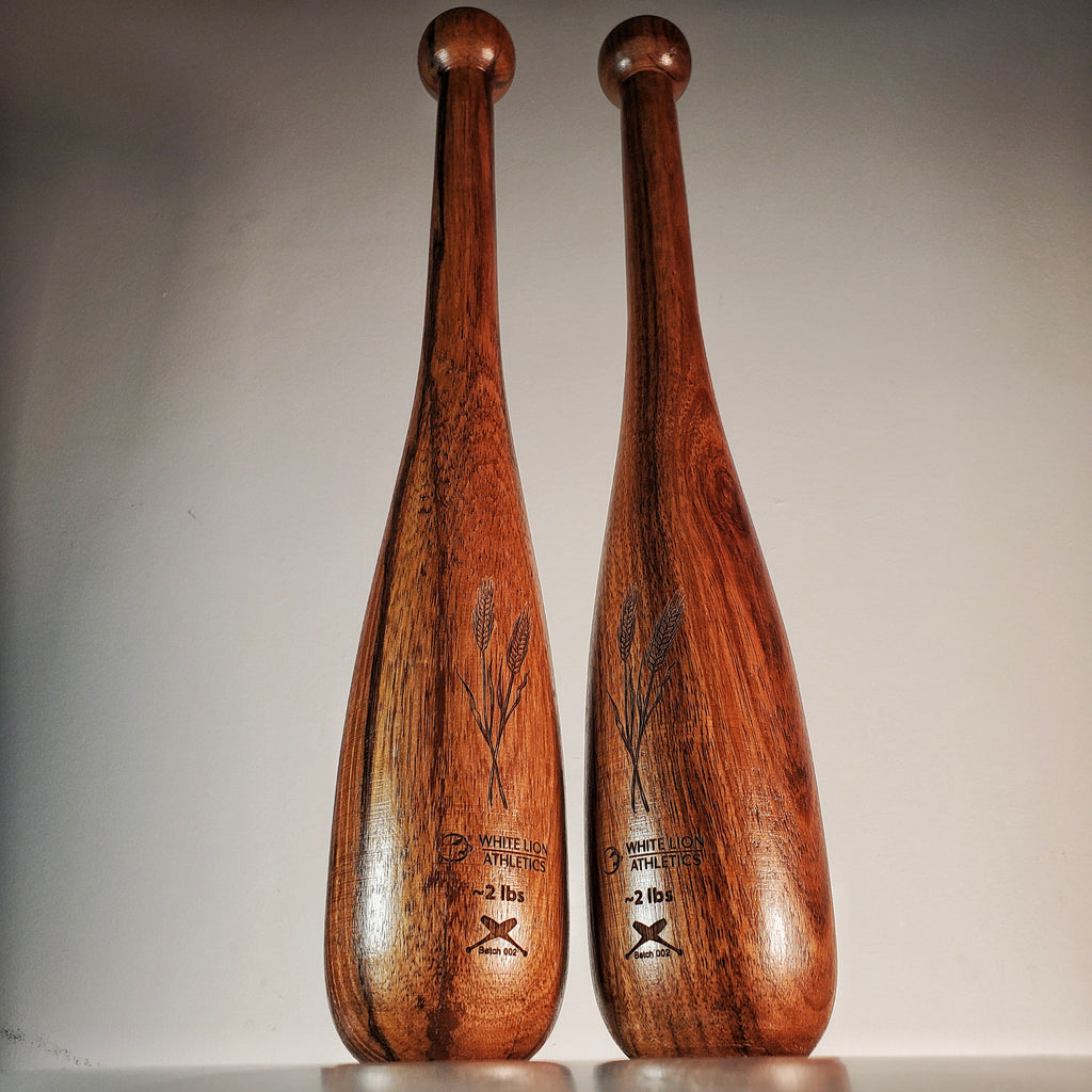2lb Indian Clubs: Walnut, Teardrops | Batch 002 | Hand Crafted Indian Clubs