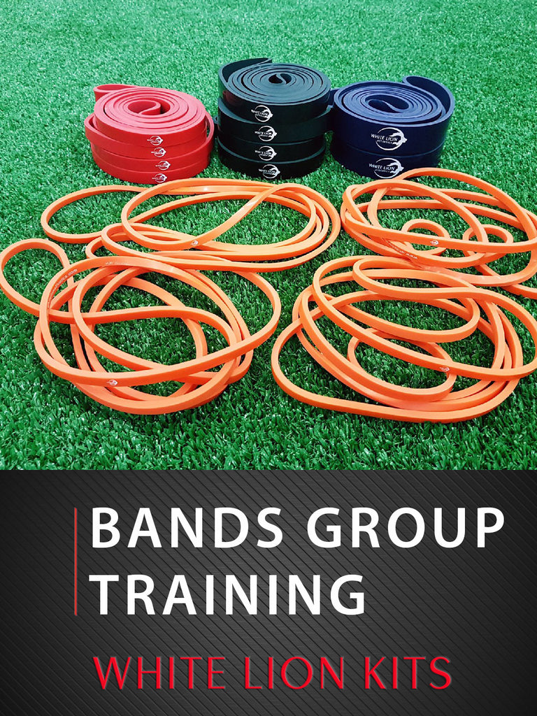 Group Training Resistance Bands KIT| 14 Resistance Bands| 4 Resistance Levels - White Lion Athletics