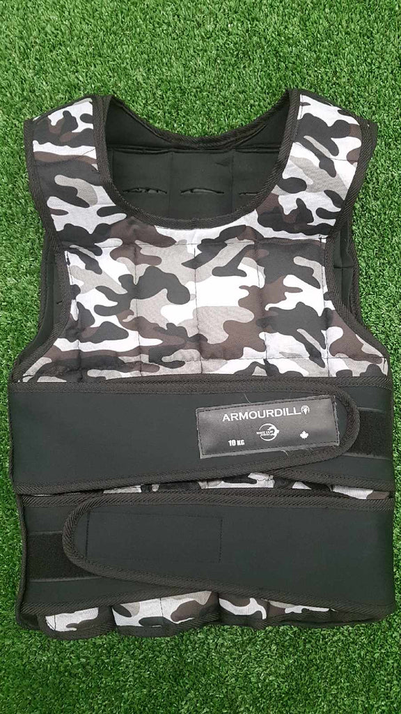 Armourdillo Weight Vest | 10kg Adjustable Weighted Vest| Camo - White Lion Athletics