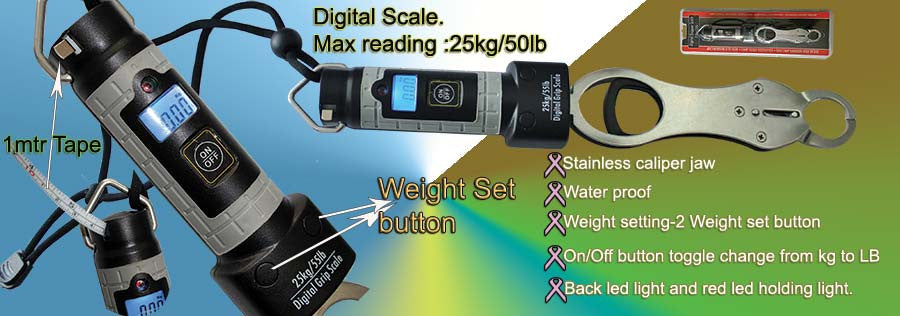 Water proof Digital Fishing Scales Max reading 25kg/50lb Model ACES811c