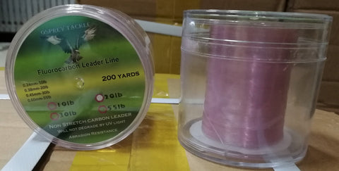 10~30lb Osprey Pinky Fluro carbon leader line. Leader line in spool of 200yds.