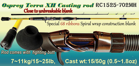 Osprey Casting rod. Spiral warp blank casting rod- close to unbreakable.