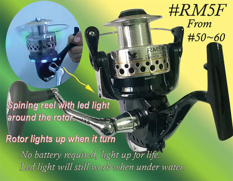 Osprey spinning reel with led light around the rotor arm