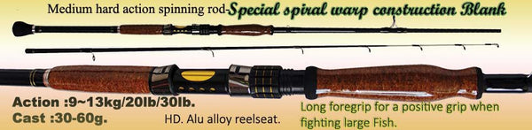 Osprey 20/30lb class spinning rods. Spiral wrap blank spinning rods available in 7 and 8ft