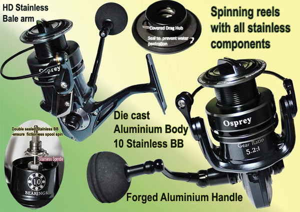 Opsrey spinning reel for salt water enviroment .