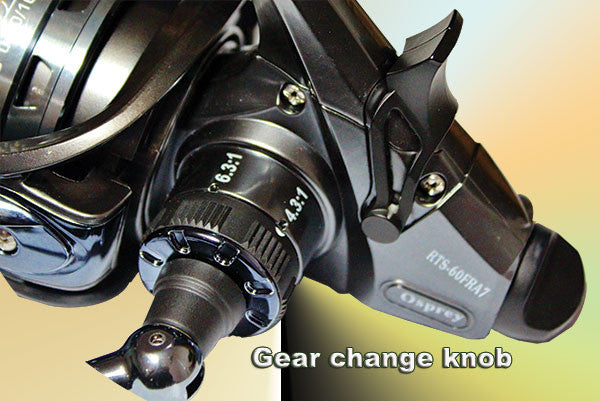 bait runner drage change over lever, and gear change knob