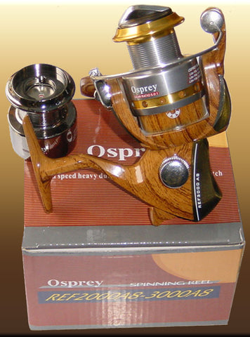 Osprey spinning reel with a wooden pattern body.  #5000 spinning reel with Twin spool