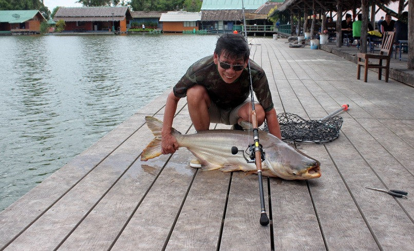 48lb mekong catfish landed with easy using Osprey RS2035-802MH spiral wrap blank spinning rod