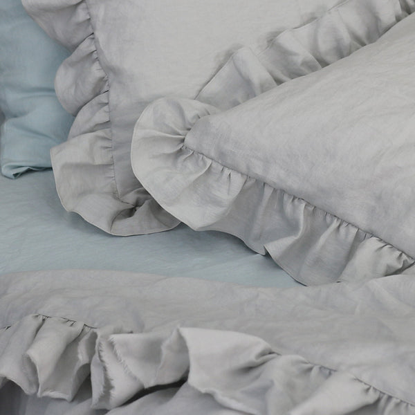 Ruffles Stone Grey Linen Bedding