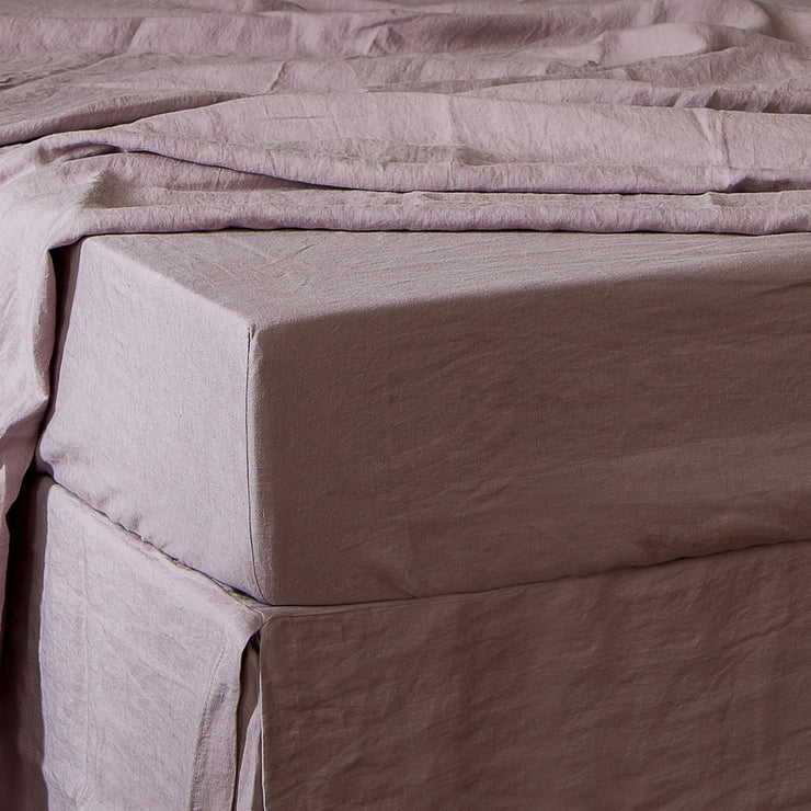 Linen Fitted Sheet Lilac - linenshed.au - 1
