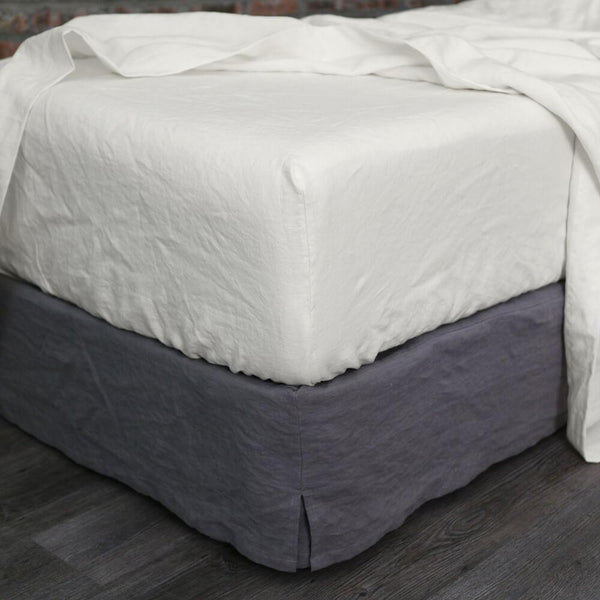 Linen Fitted Sheet Chalk - linenshed.au - 1