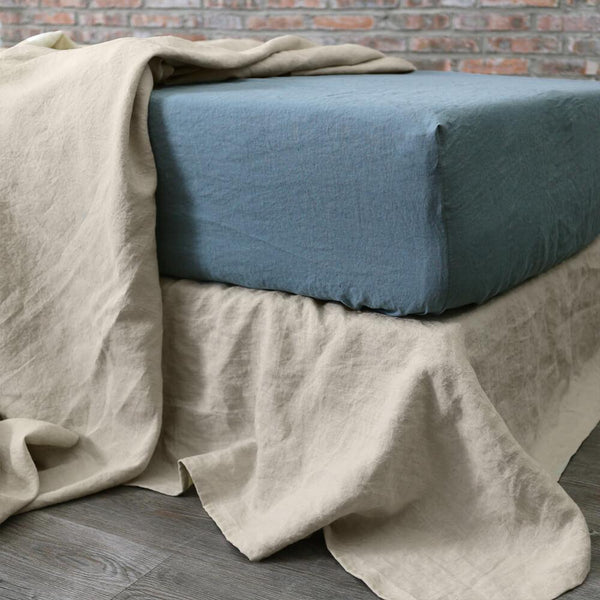 Linen Fitted Sheet French Blue - linenshed.au - 1