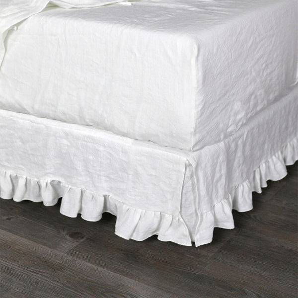 Linen Fitted Sheet Optic White - linenshed.au