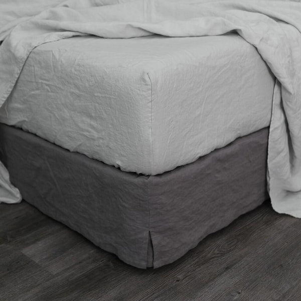 Linen Fitted Sheet Stone Grey - linenshed.au - 1