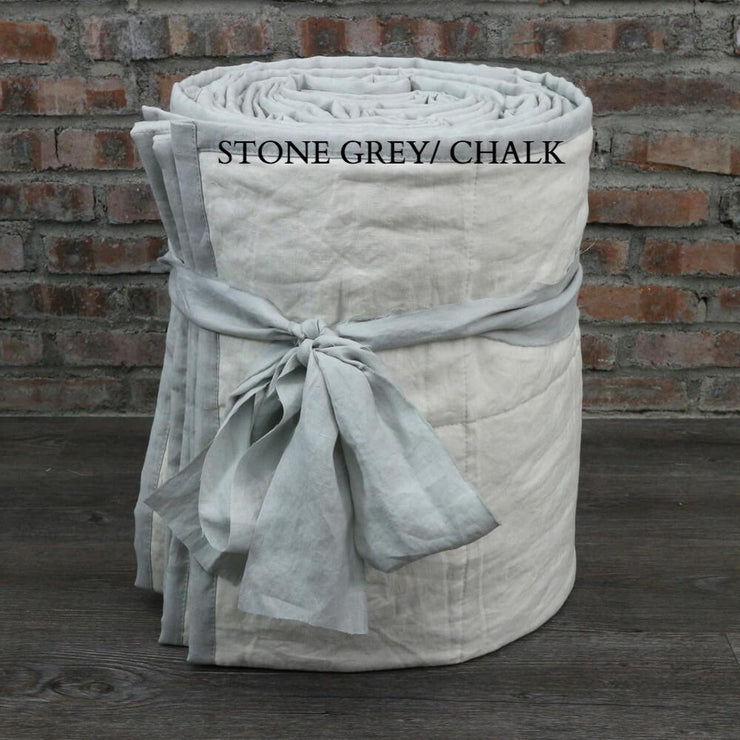 Linen Quilted Bedspread - Stone Grey/Chalk