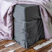 Linen Knotted Bed Skirt Lead Grey