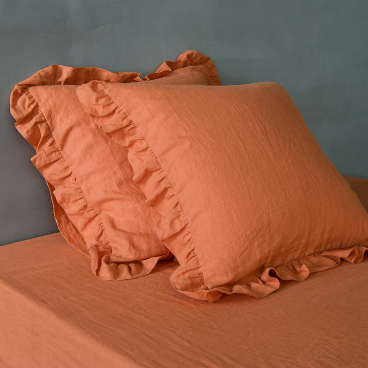 Romantic Ruffled Linen Pillowcases (set of 2)