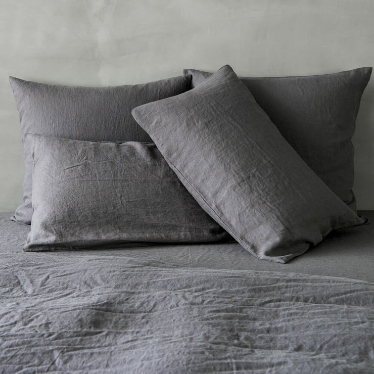 Housewife Linen Pillowcases Lead Grey (set of 2) - linenshed.au - 3