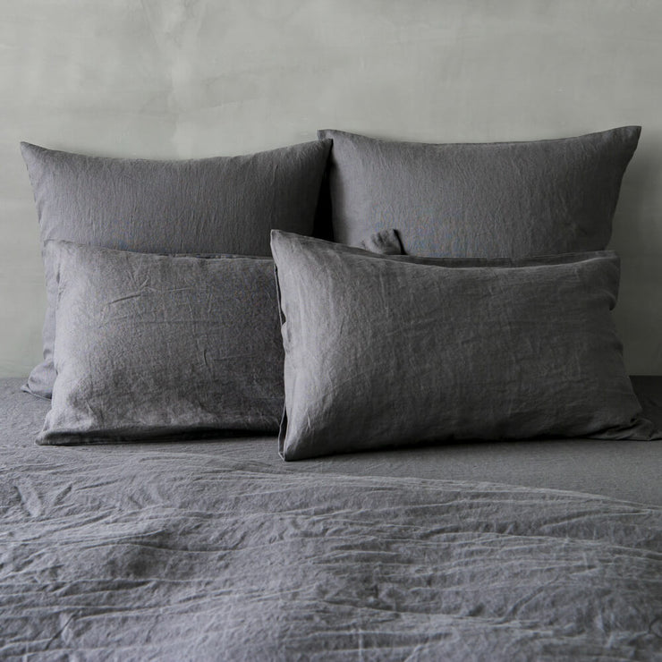 Housewife Linen Pillowcases Lead Grey (set of 2) - linenshed.au - 1