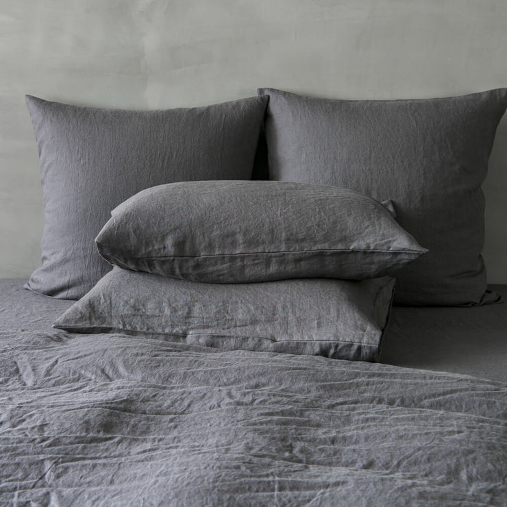 Housewife Linen Pillowcases Lead Grey (set of 2) - linenshed.au - 2