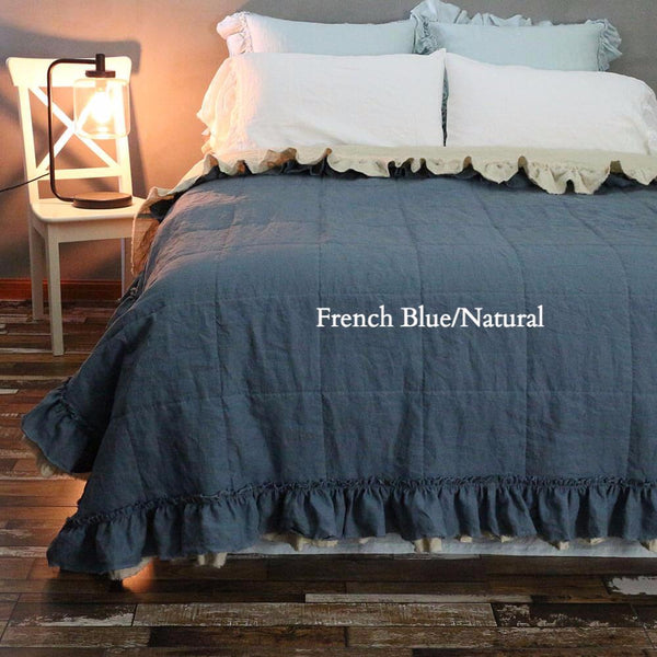 Linen Ruffle Quilted Bedpread French Blue/Natural