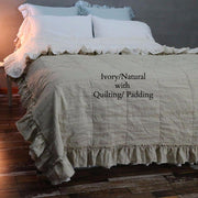 2 Tones Coverlet Ivory/Natural with Quilting/Padding