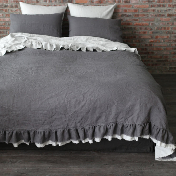 Two Tones Frayed Ruffle Bedspread - linenshed.au - 1