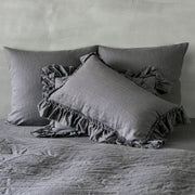 Hand Frayed Ruffles Linen Pillowcases (set of 2) - linenshed.au - Lead Gray