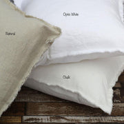 Hand Frayed Edge Cushion Covers Ivory / Optic White / Natural - Linenshed