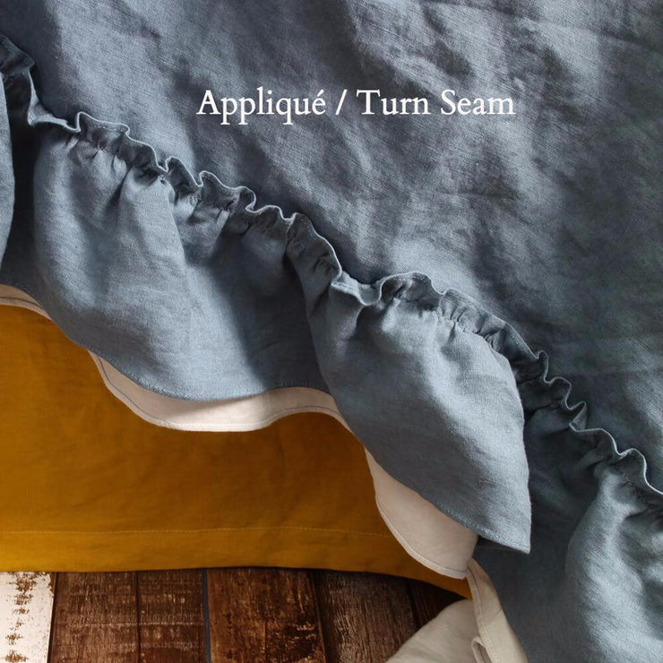 Appliqué / Turn Seam Ruffle Bedspread French Blue/Stone Grey