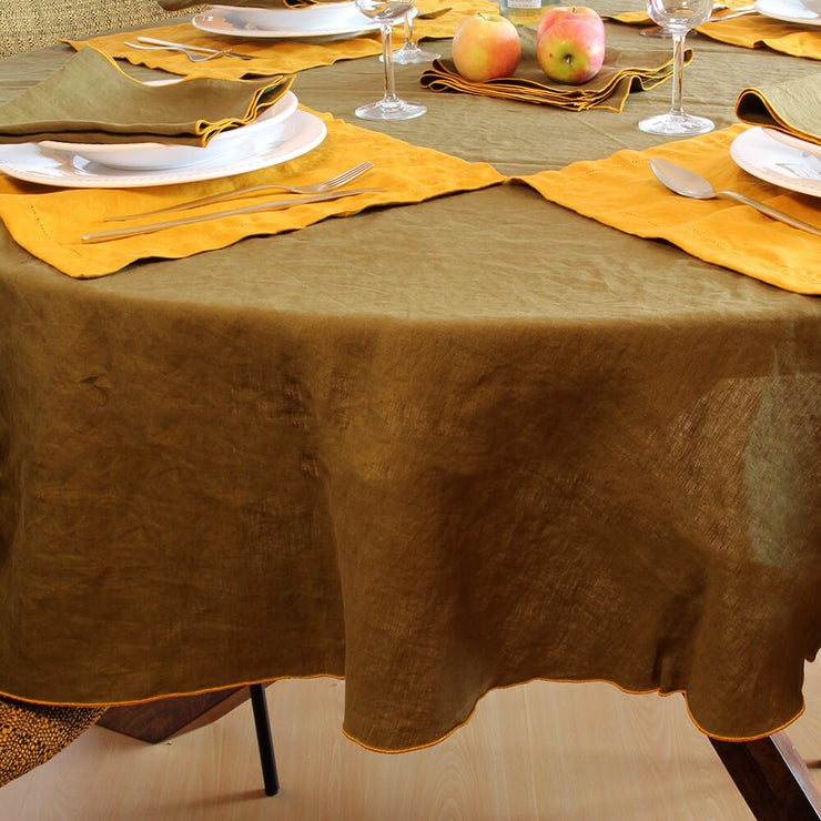 Linen Bourdon Edge Tablecloth - Linenshed