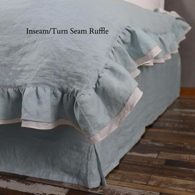 2 Tones Coverlet Turn Seam Ruffle Icy Blue/Optic White