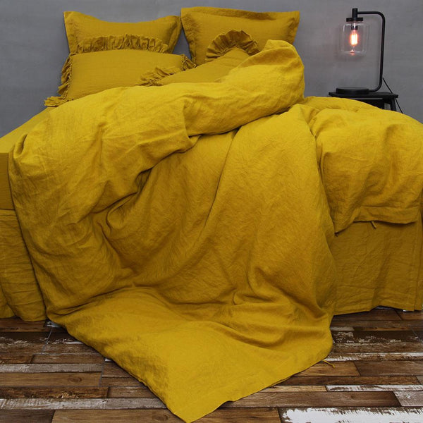 French Flax Linen Duvet Cover In Mustard Linenshed Com Au