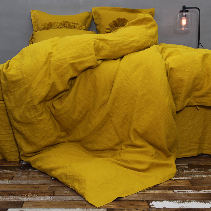 Linen Duvet Cover Curry - linenshed.au - 4