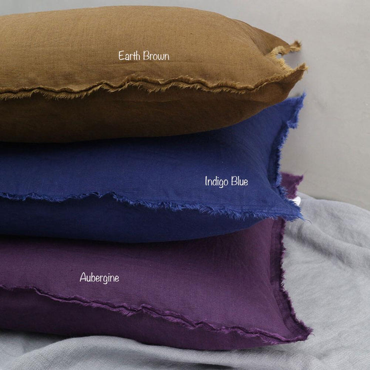 Hand Frayed Edge Cushion Covers EarthBrown/Indigo Blue/Aubergine - Linenshed