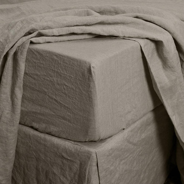 Linen Fitted Sheet Natural - linenshed.au - 1