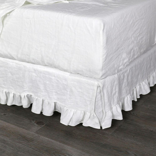 Linen Fitted Sheet Optic White