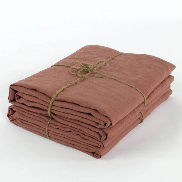 Bed Linen Flat Sheet Brick - linenshed.au