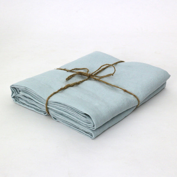 Bed Linen Flat Sheet Icy Blue - linenshed.au - 1