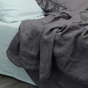 Flat Sheet Lead Grey with Icy Blue bedding set