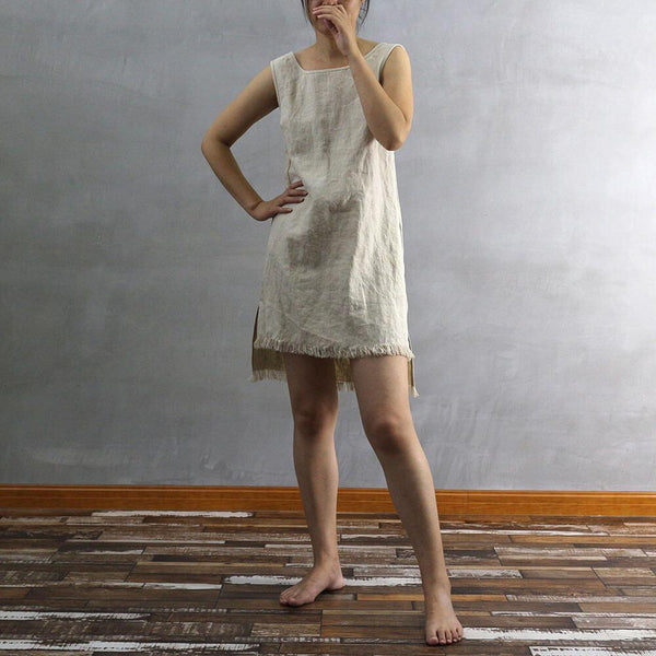 Frayed Edge Linen Dress 01 - Linenshed