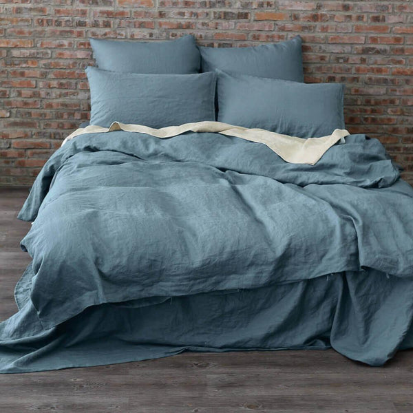 Linen Duvet Cover French Blue - linenshed.au - 1