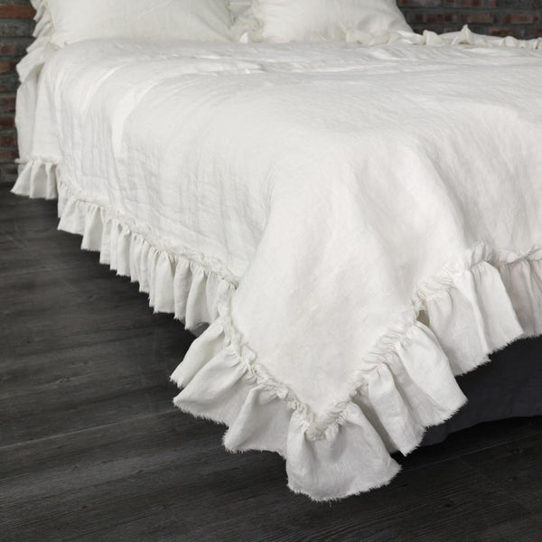 Photo Samples Hand Frayed Ruffles Linen Duvet Cover Chalk/ CALIFORNIA King 270 x 240 cm