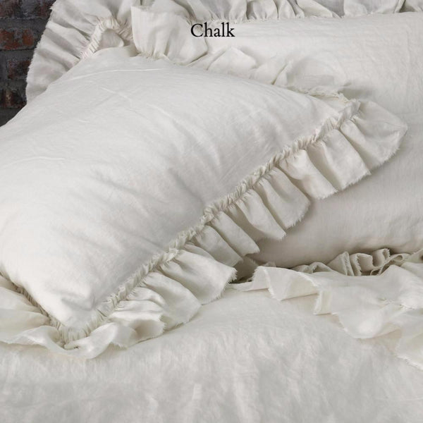 Hand Frayed Ruffles Linen Pillowcases (set of 2) - linenshed.au - Chalk